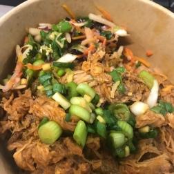 Red Dragon pork, brown rice, slaw & mango salsa