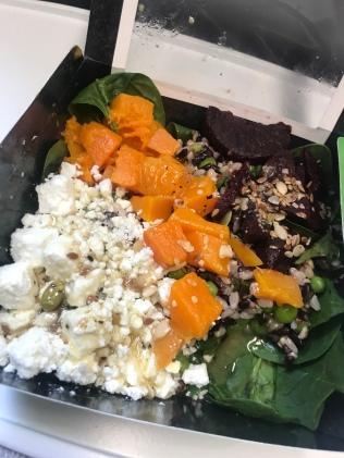 squash, spinach, feta, beetroot