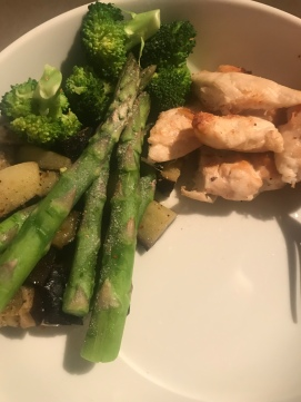 chicken, asparagus, aubergine, broccoli